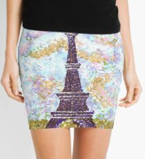 Eiffel Tower Pointillism by Kristie Hubler Mini Skirt