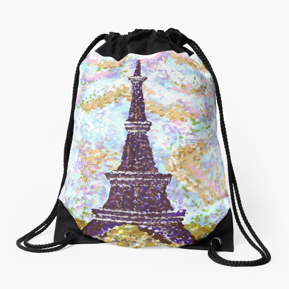 Eiffel Tower Pointillism by Kristie Hubler Drawstring Bag Front