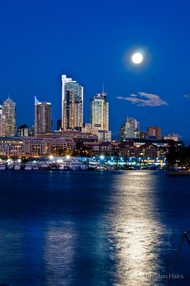 Moon over Sydney from Glebe island by Clayton Hairs