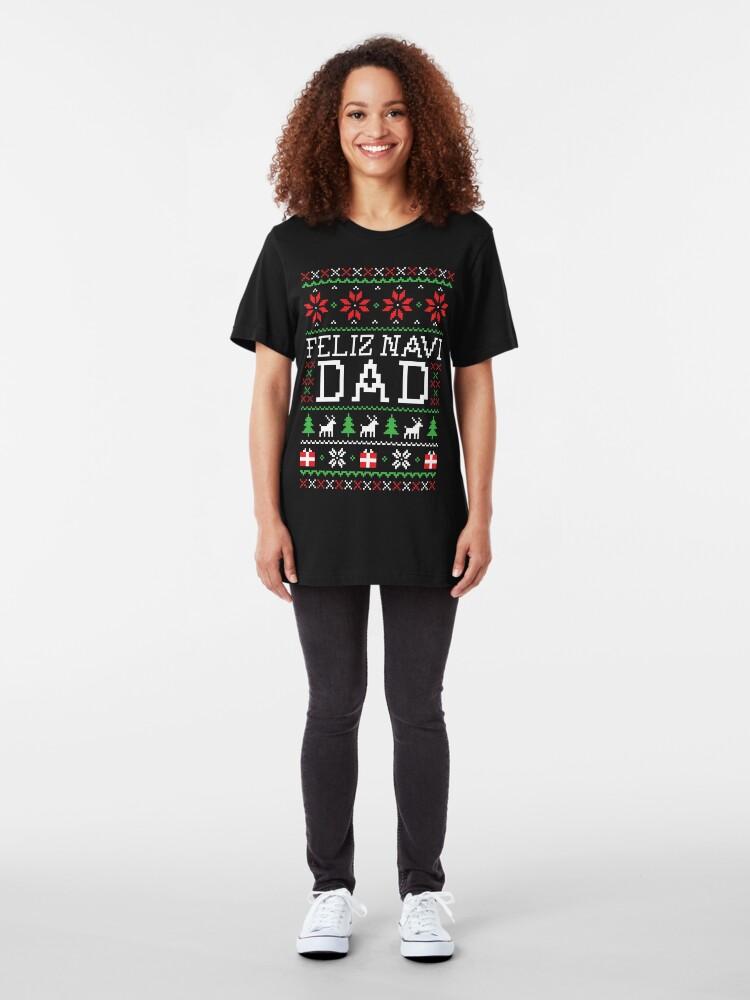 Alternate view of Feliz Navi DAD - Ugly Christmas Sweater Slim Fit T-Shirt