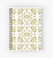 Queen of Hearts gold crown tiara tossed about by Kristie Hubler Spiral Notebook