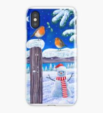 SNOWMAN AND ROBINS iPhone Case/Skin