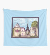 Paris Eiffel Tower inspired impressionist landscape by Kristie Hubler Wall Tapestry