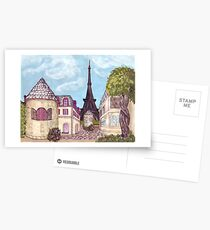 Paris Eiffel Tower inspired impressionist landscape by Kristie Hubler Postcards