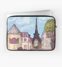 Paris Eiffel Tower inspired impressionist landscape by Kristie Hubler Laptop Sleeve