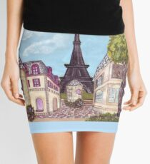 Paris Eiffel Tower inspired impressionist landscape by Kristie Hubler Mini Skirt