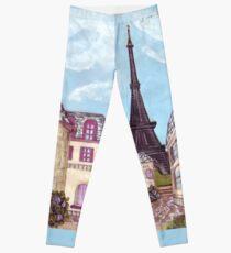 Paris Eiffel Tower inspired impressionist landscape by Kristie Hubler Leggings