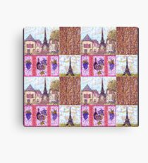Paris Inspired Pointillism Grapes Wine Wood by Kristie Hubler Canvas Print