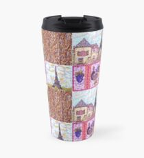 Paris Inspired Pointillism Grapes Wine Wood by Kristie Hubler Travel Mug