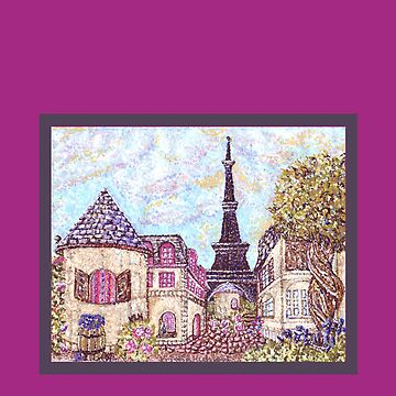 Paris Eiffel Tower inspired pointillism landscape orchid border by kristiehubler