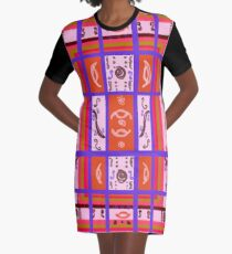 Curvy Plaid Abstract Feminine Folk Art by Kristie Hubler Graphic T-Shirt Dress