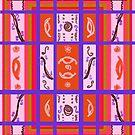 Curvy Plaid Abstract Feminine Folk Art by Kristie Hubler by kristiehubler