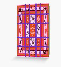 Curvy Plaid Abstract Feminine Folk Art by Kristie Hubler Greeting Card