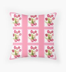 9 bunches of Pink Tulip Flowers by Kristie Hubler Throw Pillow