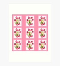 9 bunches of Pink Tulip Flowers by Kristie Hubler Art Print