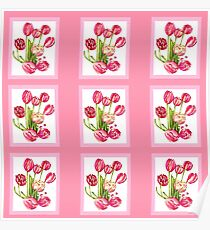 9 bunches of Pink Tulip Flowers by Kristie Hubler Poster