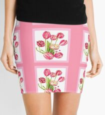 9 bunches of Pink Tulip Flowers by Kristie Hubler Mini Skirt