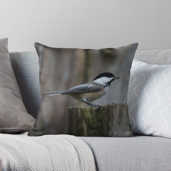 Chickadee pose Throw Pillow