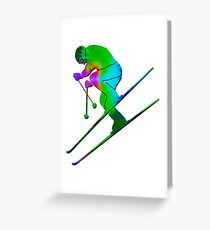 Tie-Dye Skier 2 Greeting Card