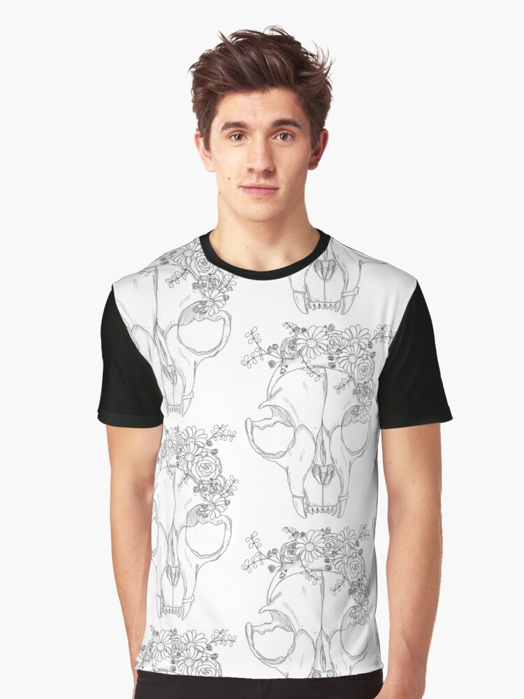 Rest in Pieces - Black and White Graphic T-Shirt Front