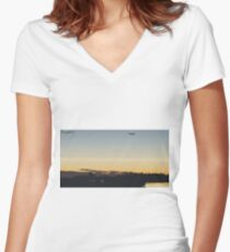 Behind the times... Women's Fitted V-Neck T-Shirt