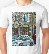 PAINTINGS OF MONTREAL RUE NOTRE DAME WINTER SCENE T-Shirt
