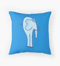 Blue Elephant From Book - A Little Blue Whisper - Throw Pillow