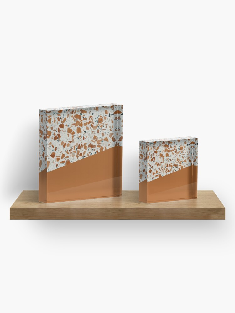 Alternate view of Terrazzo Texture Antique Mustard #3 Acrylic Block