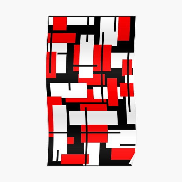 De Stijl - Red, Black and White Stripes inspired Poster
