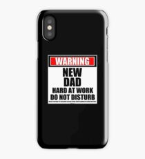 Warning New Dad (Twins) Hard At Work Do Not Disturb iPhone Case/Skin