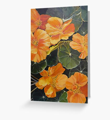 Nasturtiums. Acrylic on canvas.  Greeting Card