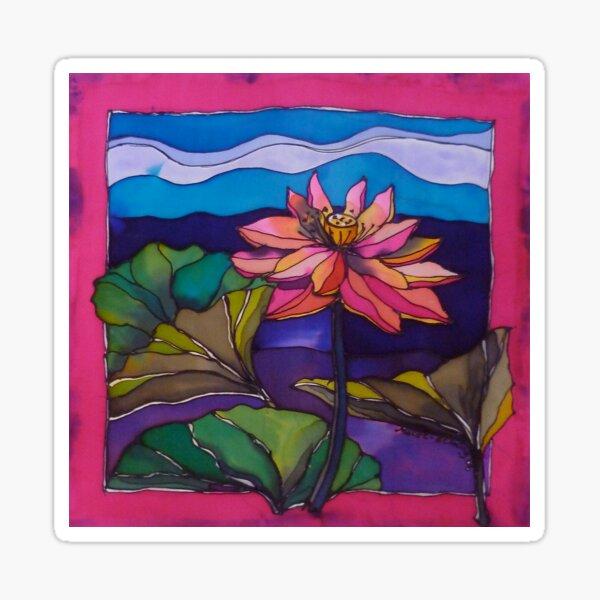 Lotus: Kakadu. Silk painting.   Sticker