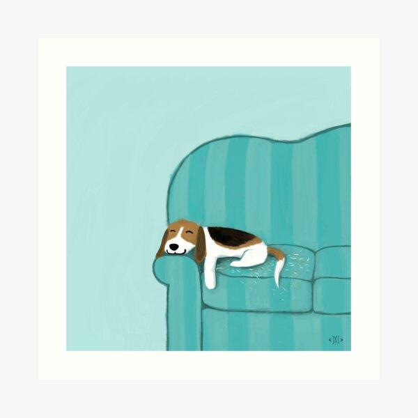 Happy Couch Dog | Cute Beagle Art Print