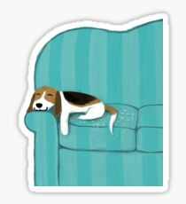 Happy Couch Dog | Cute Beagle Sticker