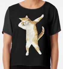 Dabbing Cat Kitten Funny Dab Tee Cool Dance Kitty  Chiffon Top