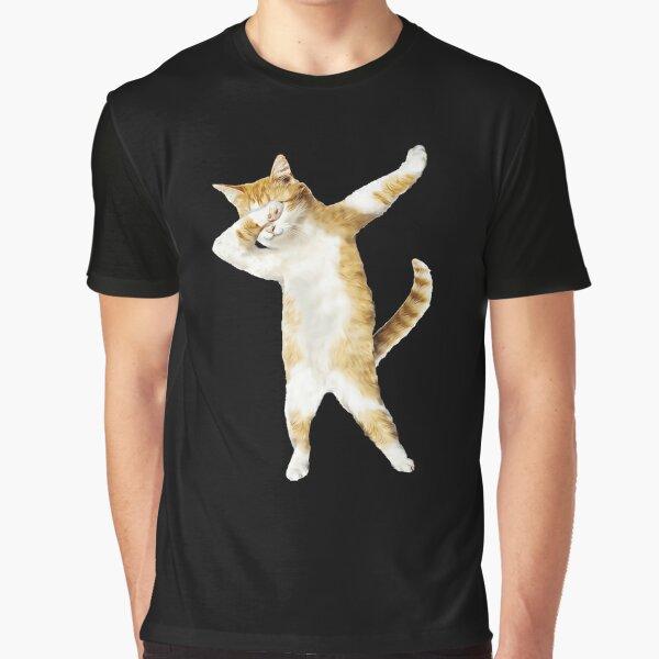 Dabbing Cat Kitten Funny Dab Tee Cool Dance Kitty  Graphic T-Shirt
