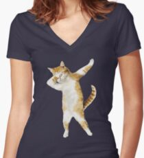 Dabbing Cat Kitten Funny Dab Tee Cool Dance Kitty  Women's Fitted V-Neck T-Shirt
