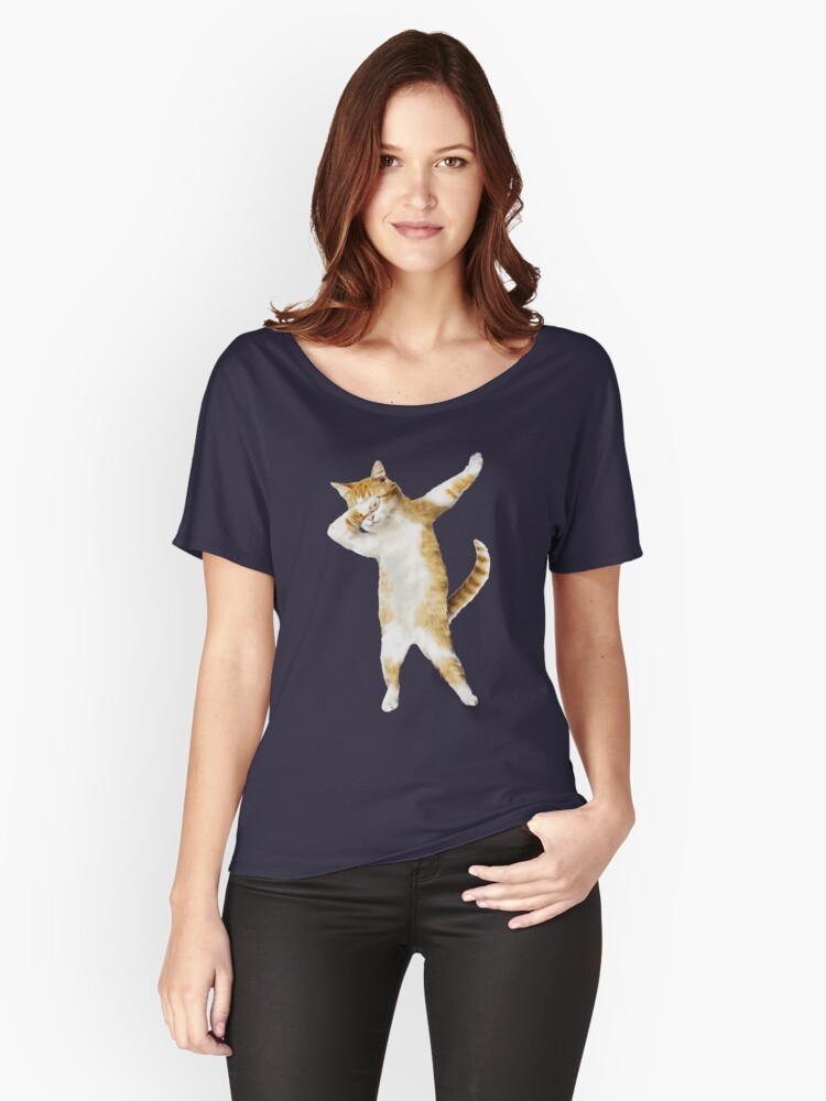 Dabbing Cat Kitten Funny Dab Tee Cool Dance Kitty  Women's Relaxed Fit T-Shirt Front