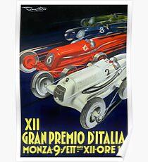 1934 Italian Grand Prix Automobile Race Poster Poster