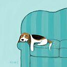 Happy Couch Dog | Cute Beagle by Jenn Inashvili