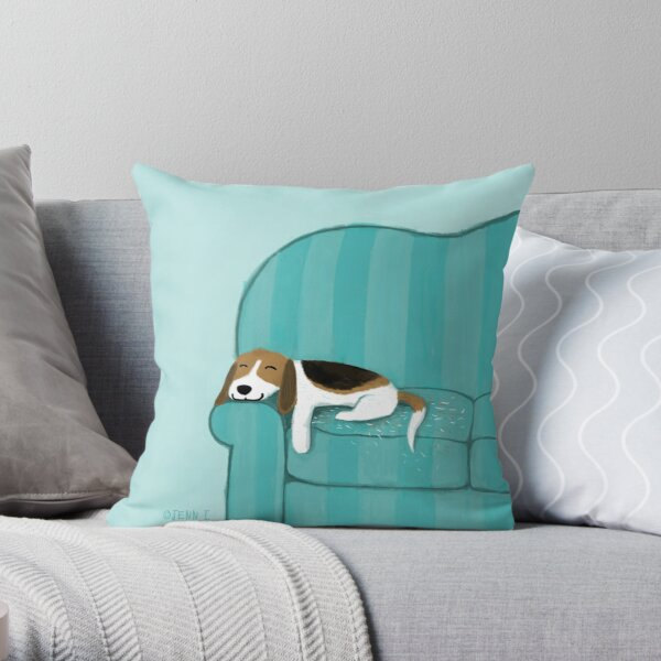 Happy Couch Dog | Cute Beagle Throw Pillow