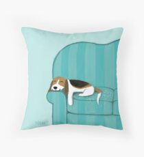 Happy Couch Dog   Cute Beagle Throw Pillow