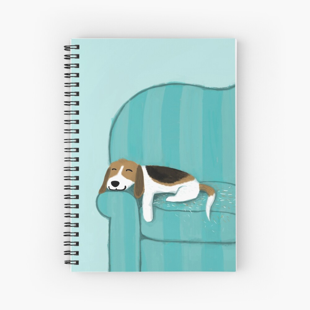 Happy Couch Dog | Cute Beagle Spiral Notebook