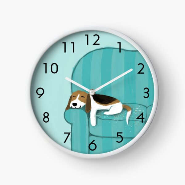 Happy Couch Dog | Cute Beagle Clock
