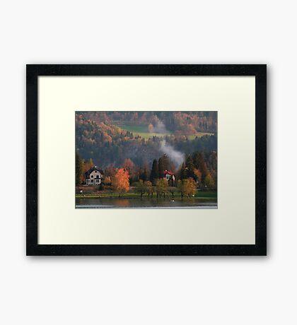 A pretty scene at Lake Bled, Slovenia Framed Print