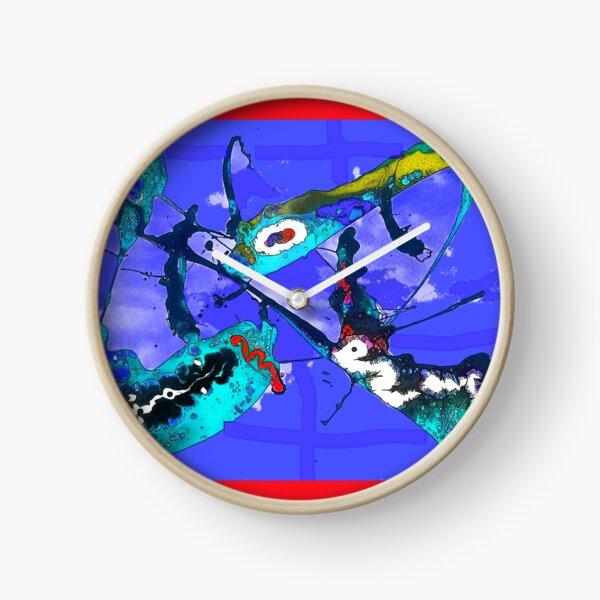 Paint Pour Abstract Blue Clock