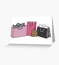 Animal Print Shopping Bags Greeting Card