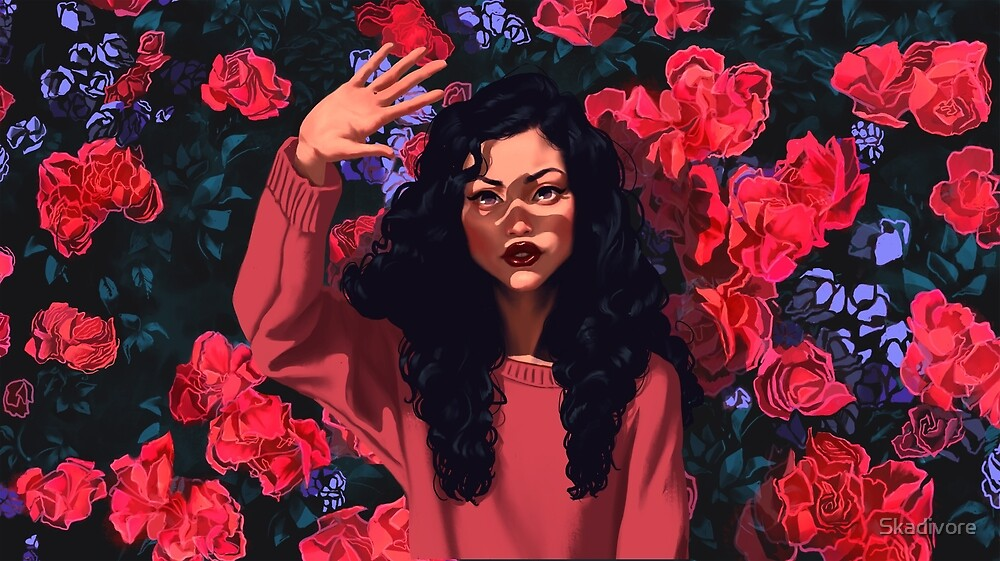 Red Flowers Girl by Skadivore