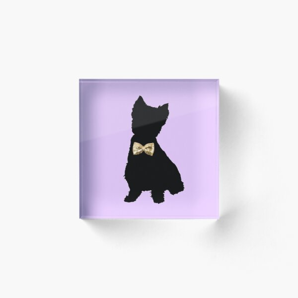Highland Terrier with Golden Bow Tie Acrylic Block