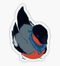Bullfinch Bird with Bandana Sticker